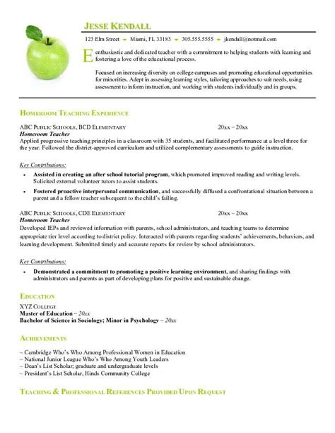 exle of resume format for teacher free homeroom teacher