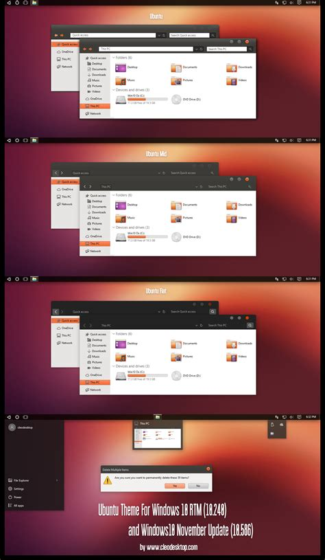 themes windows 10 ubuntu ubuntu theme for windows 10 november update by cleodesktop
