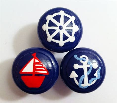 Nautical Dresser Knobs by Navy Blue Nautical Dresser Knobs Painted With Wheel
