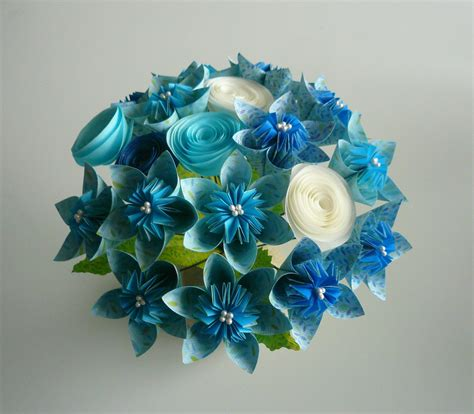 How To Make A Bouquet Of Origami Flowers - blue sky beautiful paper flower bouquet can make wedding