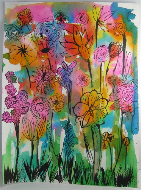 spring painting ideas made by nicole abstract watercolor flowers kid craft