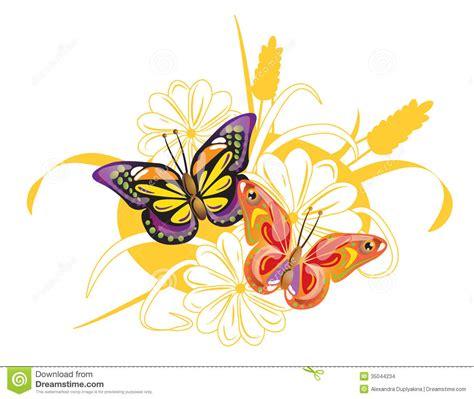 imagenes de dos mariposas juntas dos mariposas y flores brillantes ilustraci 243 n del vector