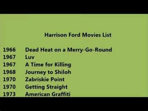 list of harrison ford harrison ford list