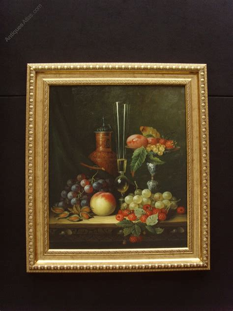 antiques atlas  life oil painting  canvas fruit vessels