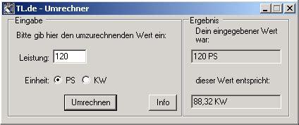 Umrechner Ps In Kw by Texturenland De Software