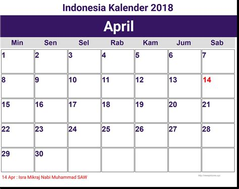 printable calendar 2018 indonesia kalender april 2018 indonesia 2018 printable calendar