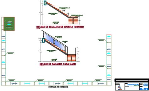 veranda dwg stair section and veranda detail dwg file