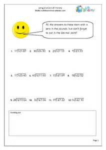 long division money division maths worksheets for year 6