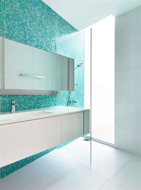 blur abyss turquoise green shower 13 inspirational exles of blue and white bathrooms contemporist