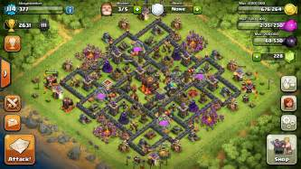 The crown early town hall 10 farming base coc land