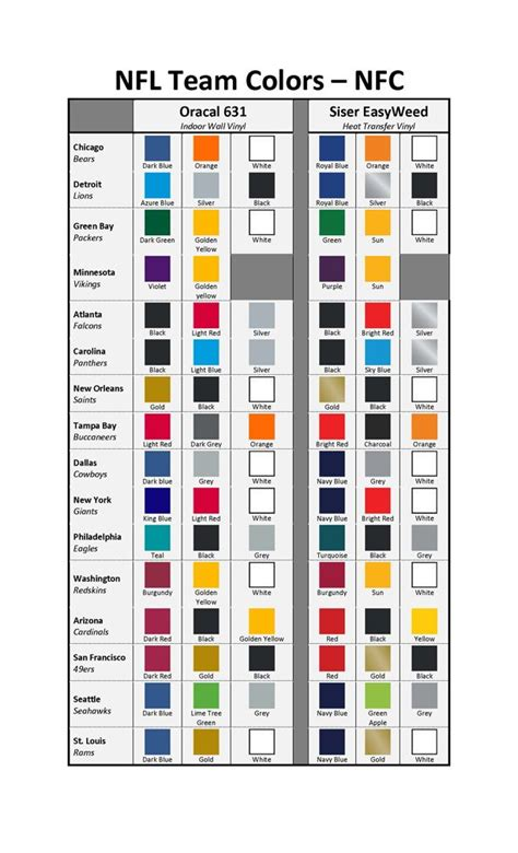 team colors nfl team color kits nfc matte vinyl silhouette stuff