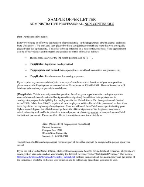 Contract To Hire Offer Letter Format Best Photos Of Offer Agreement Employment Contract Letter Sle Employment Agreement