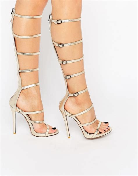 knee high strappy heels image 1 of desire sabina strappy knee high heeled