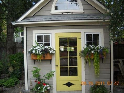 amazing shed  yellow door gardenpotting sheds