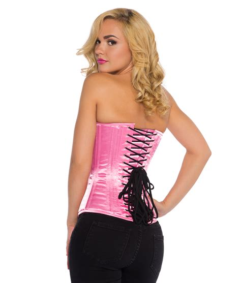 Satin Corset pink satin corset satin pink overbust corset