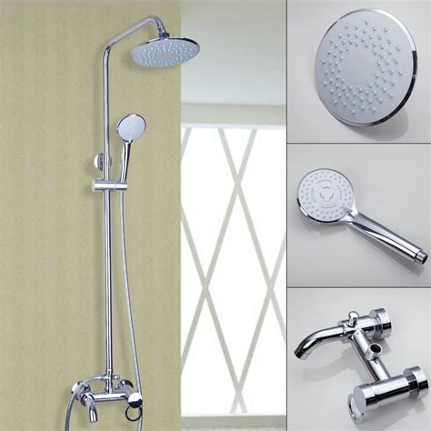 Wall Mount Shower Faucet Set by Bathroom Wall Mounted 8 Quot Shower Faucet Set Bathtub Mixer Tap Chrome New Ebay