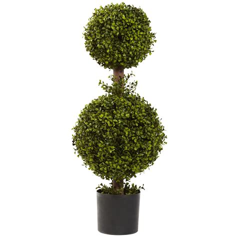 2 11 quot boxwood double ball shaped artificial topiary tree w pot