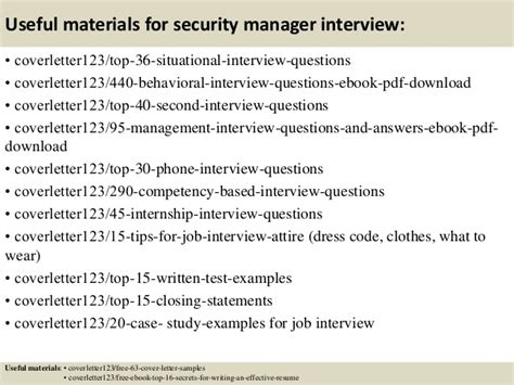 Security Manager Cover Letter by Top 5 Security Manager Cover Letter Sles