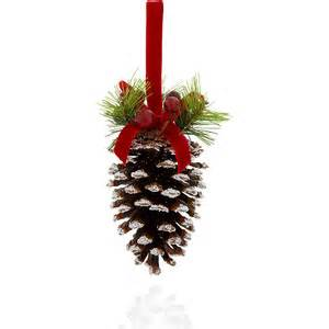 large snow covered pine cone christmas decoration m amp s polyvore