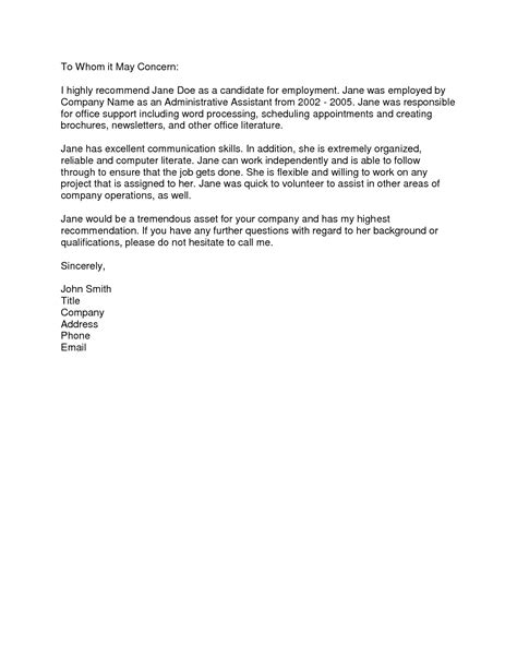 Reference Letter From Employer To Employee Template letter of reference template from employer the letter sle