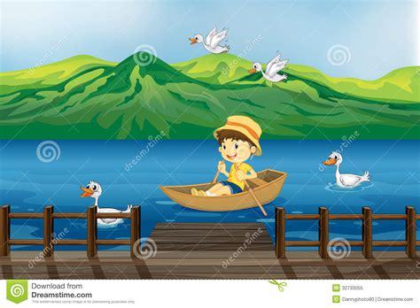 boy riding   wooden boat stock vector illustration