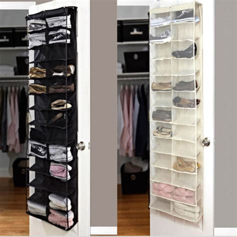 Closet Door Storage Shoe Rack Storage Organizer Holder Folding Hanging Door Closet 26 Pocket Bk