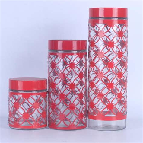 Set Of 3 Food Container cylinder pattern glass food containers set of 3 zhaohaichina
