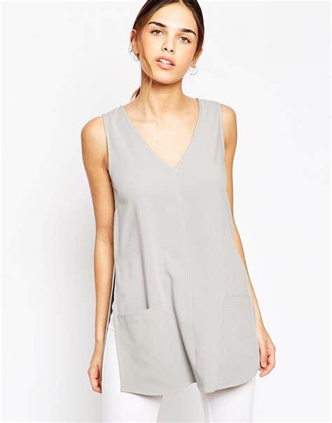 Tunic Top lyst asos sleeveless v tunic top in gray