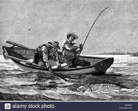 people fly out of boat fishing quot ready to pull in quot wood engraving after drawing by
