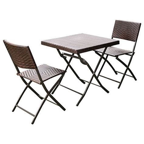 Wicker Bistro Table And Chairs Giantex 3 Pc Outdoor Folding Table Chair Furniture Set Rattan Wicker Bistro Patio Brown Home