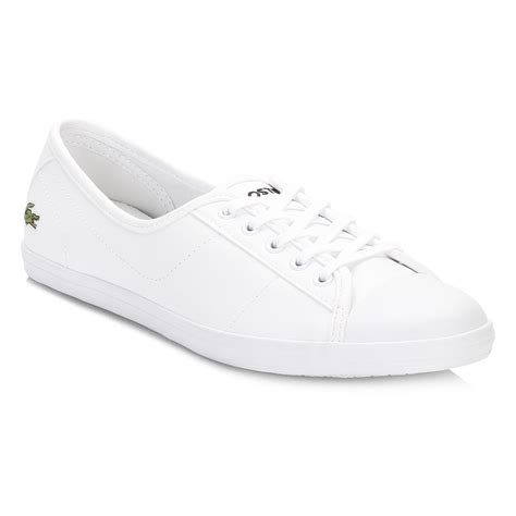 lacoste womens shoes lacoste womens trainers white ziane bl 1 spw leather lace