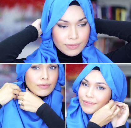 tutorial hijab menggunakan aksesoris anting tutorial hijab layer dengan anting panjang ala desainer