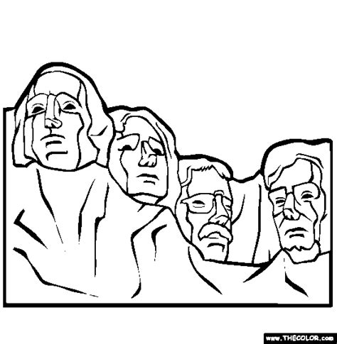 coloring page for mount rushmore president s day online coloring pages page 1