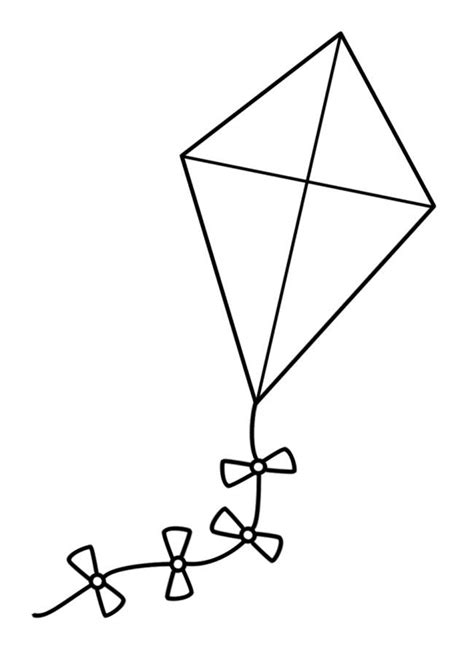 kite coloring page template kite template for kids clipart best