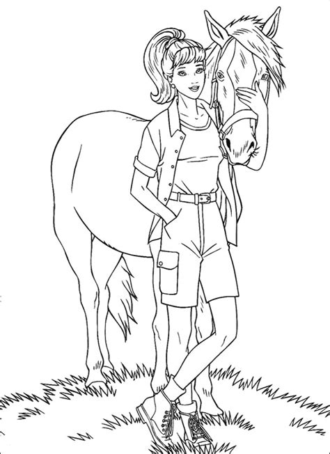 barbie with horse coloring pages barbie dolls cartoon