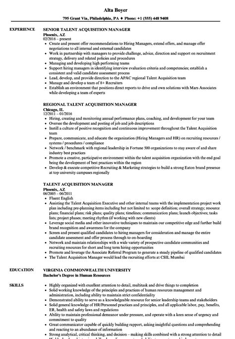 talent acquisition manager resume sles velvet