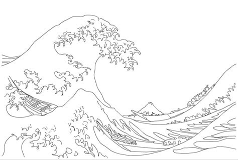 coloring page waves free the great wave coloring pages