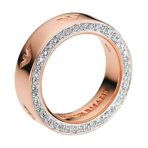 emporio armani stainless steel gold plated ring
