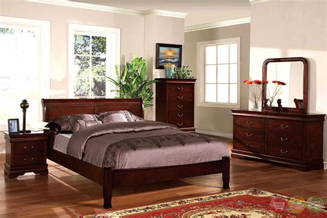 transitional cherry sleigh bedroom set with