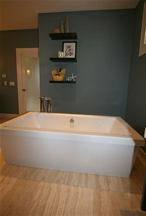 floating tub freestanding tub floating shelves contemporary bathroom