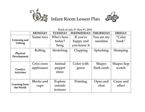 printable lesson plans for infants infant room lesson plan westlake childcare by linzhengnd