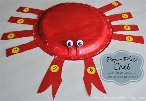 Crab Paper Plate Craft - paper plate crab craft with numerical sequence practice