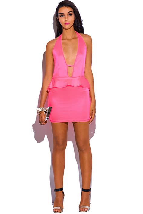Ulviana Ethnic Peplum Mini Dress shop wholesale womens neon pink cut out backless v