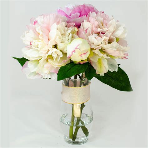 Artificial Peonies In Vase by Baby Pink Fuchsia Silk Peony Arrangement In Glass Vase As Home