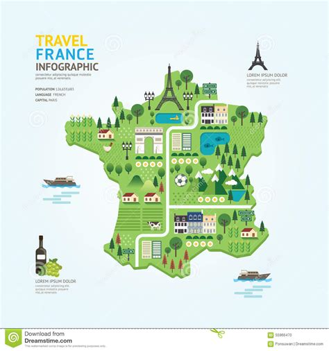 info home design concept fr infographic travel and landmark france map shape template
