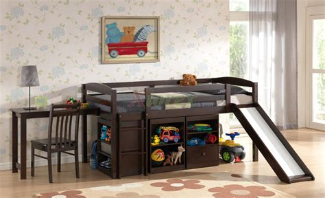 wood shop free bunk beds with slide and desk