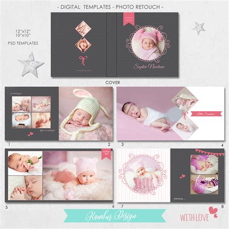 12x12 10x10 psd 30 pages album template newborn baby