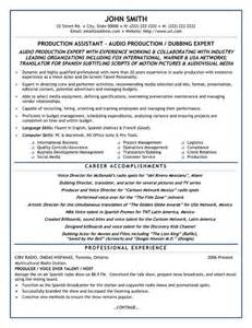 Post Production Assistant Sle Resume by Production Assistant Resume Sle