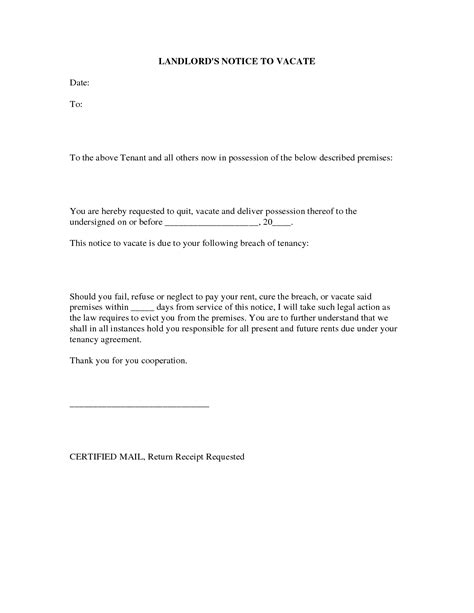 30 day notice to vacate landlord to tenant template tenant notice to vacate letter to landlord template