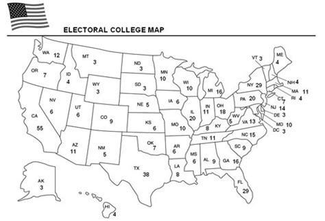 Electoral College Worksheet by Electoral College Map Template Education World